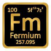 Periodic Table Element Fermium Icon On White Background. Vector Illustration. poster