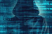 Cybersecurity, Computer Hacker With Hoodie And Obscured Face, Computer Code Overlaying Image poster