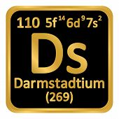 Periodic Table Element Darmstadtium Icon On White Background. Vector Illustration. poster