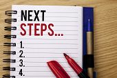 Handwriting Text Writing Next Steps.... Concept Meaning Following Moves Strategy Plan Give Direction poster