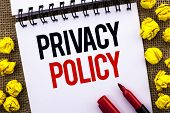 Handwriting Text Privacy Policy. Concept Meaning Document Information Security Confidential Data Pro poster