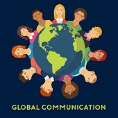Global Communication Flat Design. Poster Of People Connected To Global Communication On World Map Da poster