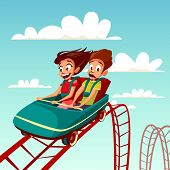 Kids On Rollercoaster Rides Vector Illustration. Boy And Girl Riding Fast On Russian Mountains Amuse poster