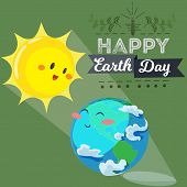 Earth Day, Happy Sun Heats Earth With Its Yellow Warm Rays, Ecology Concept Of Love The World, Green poster