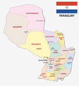 Paraguay Administrative And Political Vector Map With Flag poster