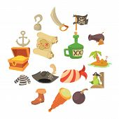 Pirate Culture Symbols Icons Set. Cartoon Illustration Of 16 Pirate Culture Symbols Vector Icons For poster