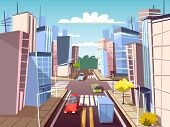City Street Vector Illustration Of Urban Cars Transport On Traffic Lane And Pedestrian Crosswalk Wit poster