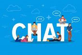 Chat Concept Illustration. Young People Using Mobile Gadgets Such As Tablet Pc And Smartphone For Te poster