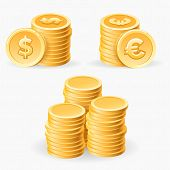 Coins Piles. Gold Coins Stack Set Vector Illustration, Cash Dollars And Metal Piece Euro Finance Iso poster