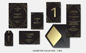 Wedding Invitation, Invite Card Design With Geometrical Art Lines, Gold Foil Border, Frame. Vector M poster