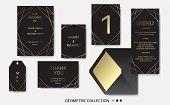 Wedding Invitation, Invite Card Design With Geometrical Art Lines, Gold Foil Border, Frame. Vector M poster