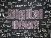 News Concept: Chalk Pink Text Digital News On School Board Background With  Hand Drawn News Icons, S poster