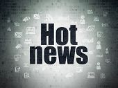 News Concept: Painted Black Text Hot News On Digital Data Paper Background With  Hand Drawn News Ico poster