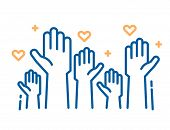 Volunteers And Charity Work. Raised Helping Hands. Vector Thin Line Icon Illustrations With A Crowd  poster