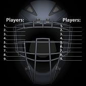 Scoreboard Of Baseball And Softball Games Wit Catcher Mask Helmet. Sport Equipment And Gear. Vector  poster
