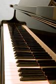 stock photo of grand piano  - Keyboard Of A Baby Grand Piano close - JPG