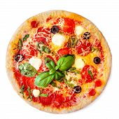 Isolated Pepperoni Pizza. Fresh Pizza  With Mozzarella Cheese, Basil Leaf, Olives   And Tomato Sauce poster