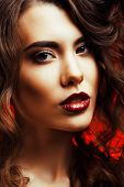Beauty Woman With Perfect Makeup Beautiful Professional Holiday Make-up. Red Lips And Nails Beauty G poster