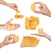 Set Of Different Tasty Corrugated Chips With Hand, Isolated On White Background, Potato Chips, Unhea poster