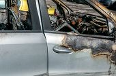 Damaged Car. Total Damage On New Expensive Burned Car In Fire On The Parking Lot, Selective Focus poster