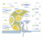 Hands Retro Cartoon Mouse With Cheese. Vector Illustration With The Image Of The Mouse And The Moon. poster