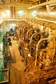 foto of tear ducts  - The huge and powerful diesel engine of a tugboat - JPG