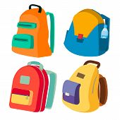 Schoolbag Set Vector. Closed Backpacks Side View. Colored School Modern Backpacks. Isolated Cartoon  poster