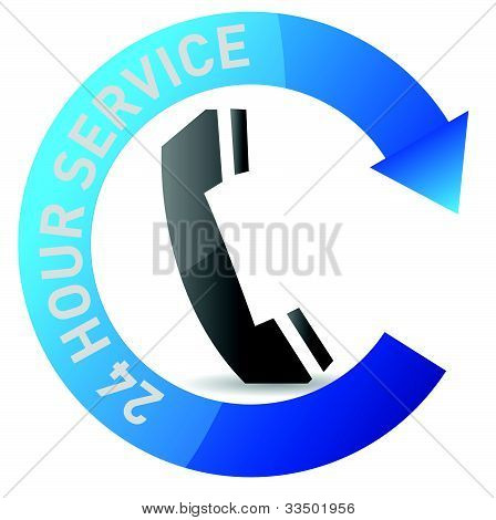 24/7 service illustration design over white background