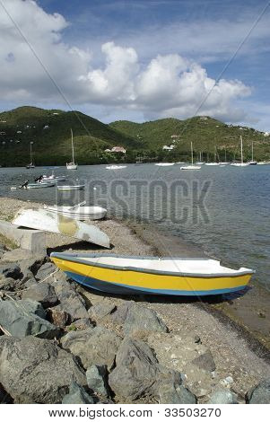 Yellow boat in the Caribbean