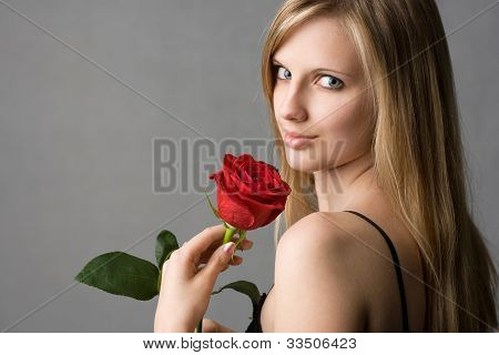 Romantic Blond With Red Rose.
