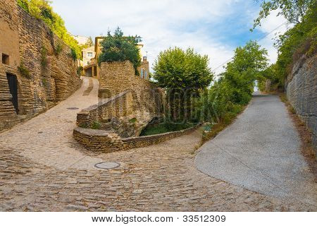 Hairpin Turn Cobblestone Street Gordes