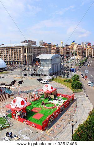 The Capital Of Ukraine Kyiv Is Preparing Fan Zone On Maidan Nezalezhnosti.