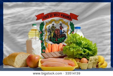 Basic Food Groceries In Front Of West Virginia Us State Flag