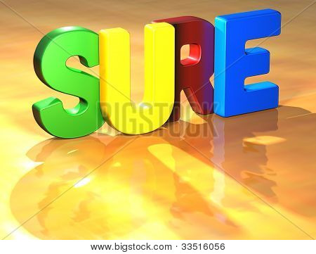 Word Sure On Yellow Background