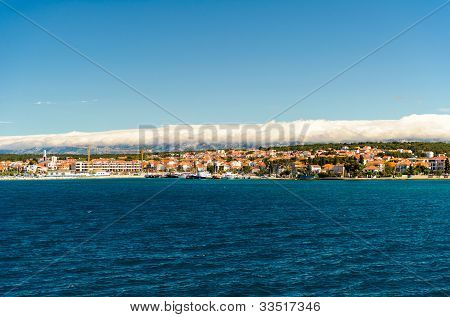 Beautiful Landscape With Turquoise Water And Blue Sky,view Of The Zadar City, Croatia