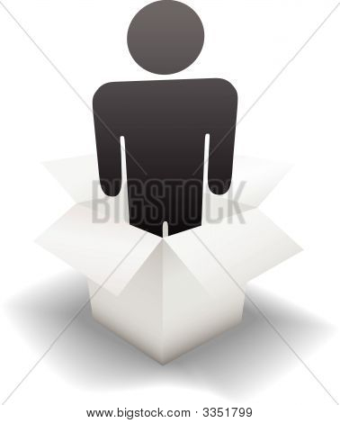 Deliver A Delivery Person In A Clean White Carton.Eps