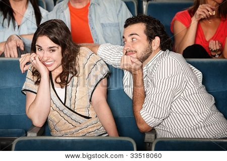 Embarrassed Girl In Theater