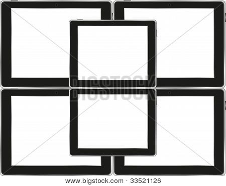 Vector Tablets Pc ipad With Empty White Screen And Black Frame
