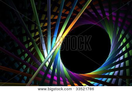 Spirally Arranged   Rainbow Tubes Forming A Frame
