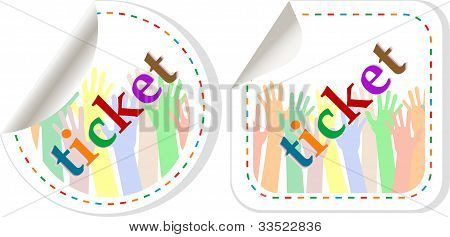 Vector Ticket Banner Set Isolated On White