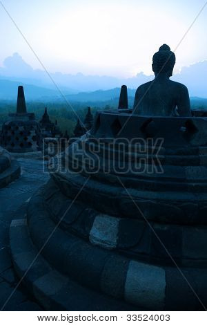 Borobudur At Dusk, Java, Indonesia