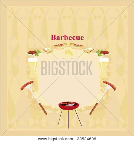 Barbecue Party Invitation with copy space