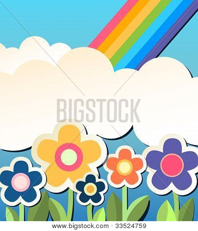 Colorfull Background With Flower