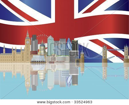 London Skyline With Union Jack Flag Illustration