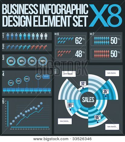 8 business info graphic elements vector