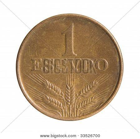 One Escudo Coin. Bank Of Portuguese Republic