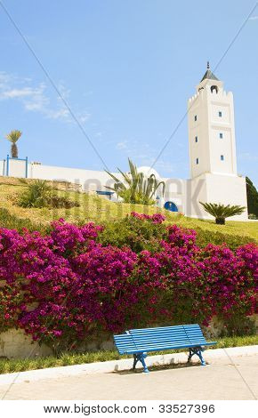 Tunisia Africa Sidi Bou Said Mosque With Flower Garden