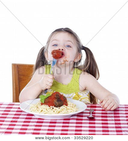 Pretty Girl Eating Pasta And Meatballs