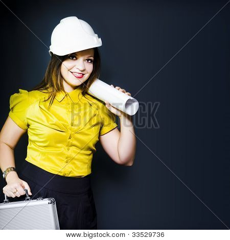 Young Female Architect On A Site Inspection