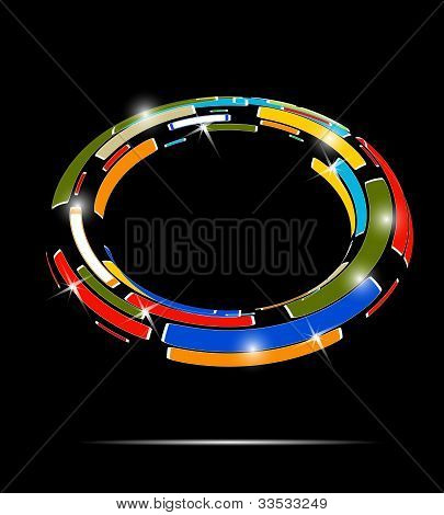 Abstract Technology Circle On Dark Vector Background